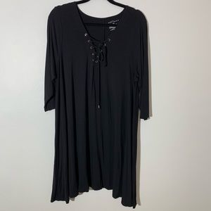 Boutique lace up neckline swing dress Black 0X